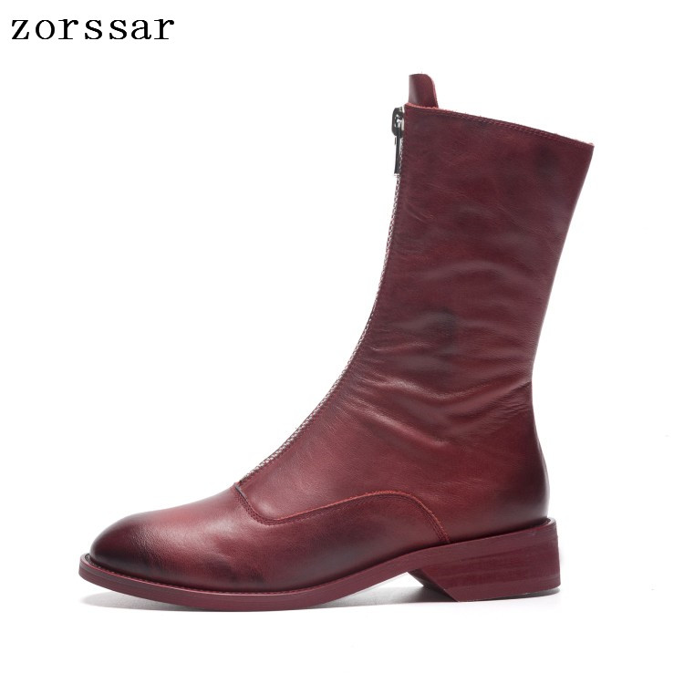 {Zorssar} Vintage Style Genuine Leather Women Boots Flat Booties Soft Cowhide Womens Shoes Zip Ankle short Boots zapatos mujer{Zorssar} Vintage Style Genuine Leather Women Boots Flat Booties Soft Cowhide Womens Shoes Zip Ankle short Boots zapatos mujer