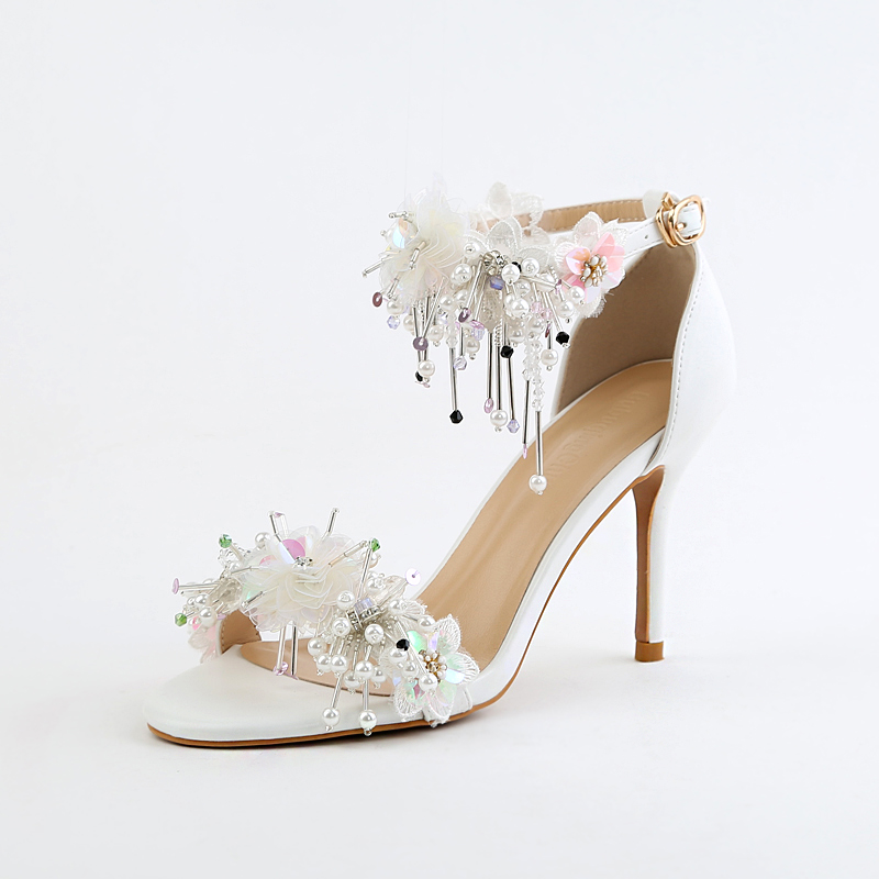 2017 new summer flower bride shoes ultra fine sequins diamond wedding with high-heeled sandals for some wedding shoes 2015 new high heeled shoes sexy shoes fine with waterproof ultra high heels nightclub 16cm red wedding shoes