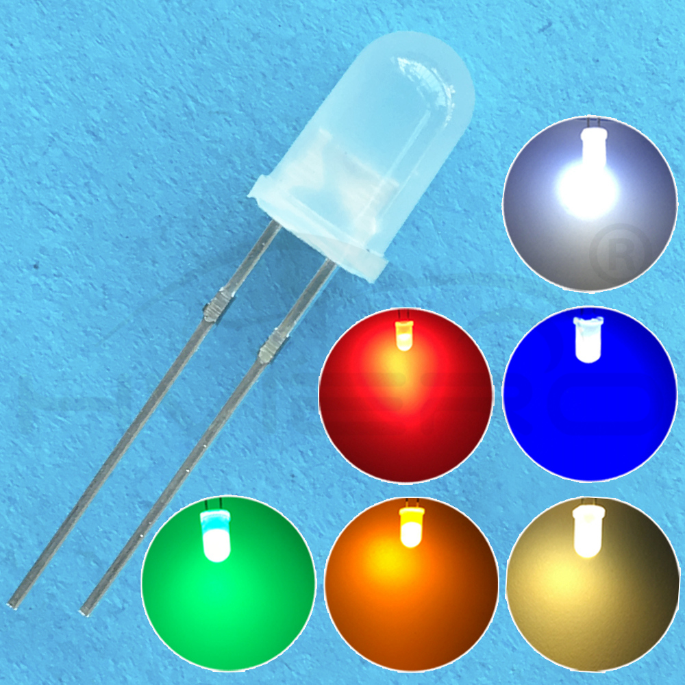 Hviero 5mm F5 Diffused White Red Green Blue Yellow Warm-white Round Light Emitting Diode 1.8~3.4V 2pin LED Bulb Light Diodes Led