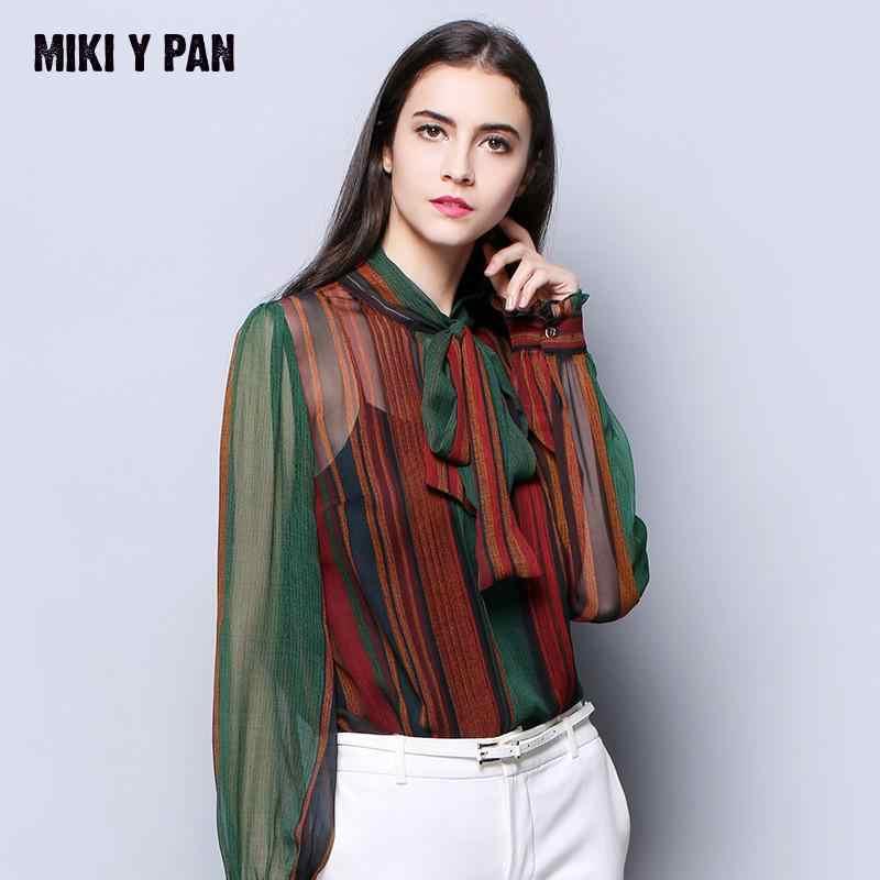 458b89d259a7bc 2019 New Brand Silk Blouse Female European American Fashion Printing Shirt  long sleeved shirts Pure Silk
