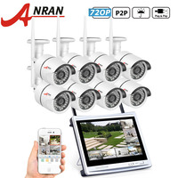 ANRAN P2P CCTV 8CH WIFI NVR System 12 Inch LCD Monitor 36 IR Waterproof Network 720P
