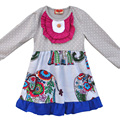 2016 Hot Sale Children Girls Long Sleeve Dress With Elephant Knitted Cotton Swing Clothing Ruffle Remake Kids Dresses CX003