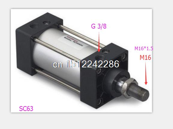 Single Rod Double Action 63mm Bore 100mm Stroke SC Standard Pneumatic Cylinder SC63 100 High Quality