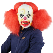Scary Red Hair Clown Mask Costume Cosplay Adult Halloween Costume For Adult Carnival Purim Party Props