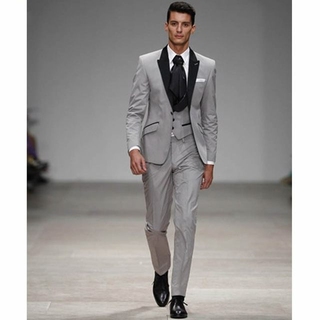 Light Grey With Black Lapel Groom Tuxedos Groomsman Wedding Blazer