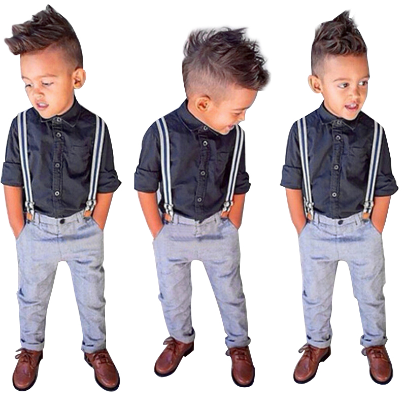 2017 Fashion Boys Clothing Sets Brand Overall + T-Shirt 2pcs Set Baby Boys Clothing For 1-6 Years Kids Clothes Children Clothing 2pcs children outfit clothes kids baby girl off shoulder cotton ruffled sleeve tops striped t shirt blue denim jeans sunsuit set