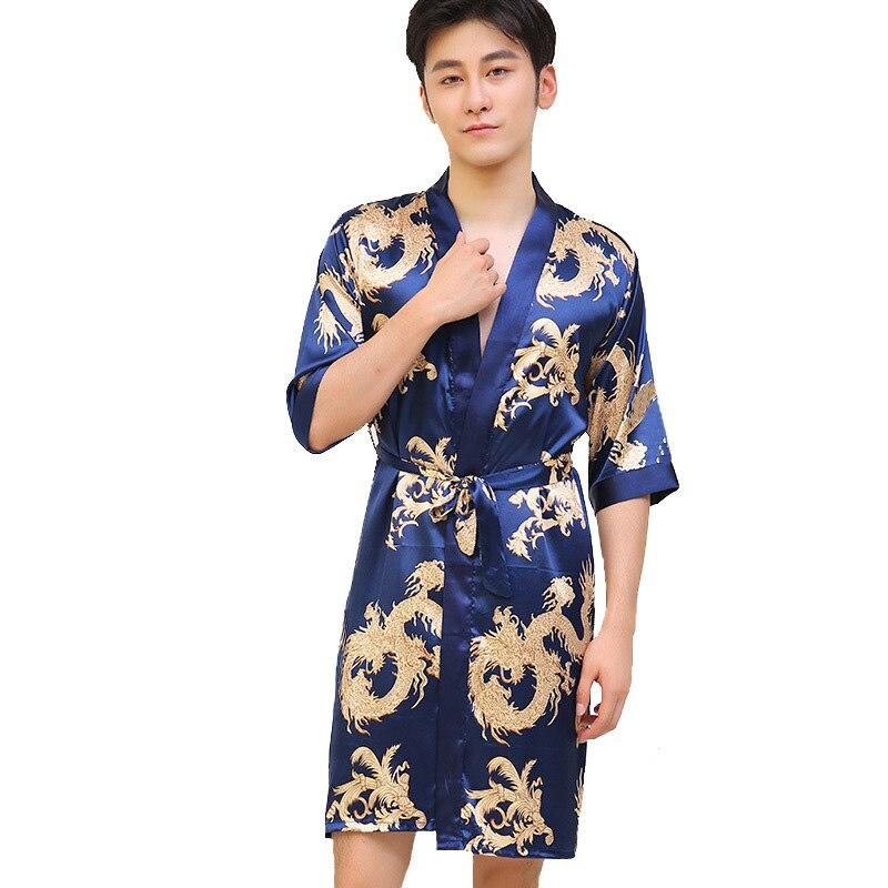 Chinese Vintage Men's Robe Casual Sleepwear Satin Rayon Nightwear Printed Dragon Bathrobe Kimono Gown Negligee L-XXL(China)