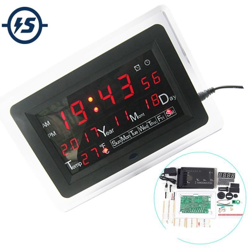ECL-1227 0.5 inch Red Green Blue DIY Electronic Clock  DIY Kit Calendar Temperature English Panel Display DIY Electronic Clock