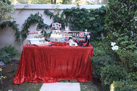 Wholesale 10PCS Red Sequin Tablecloth Wedding Cake Tablecloth Rectangle Sequin Table for Wedding Decoration90x156inch