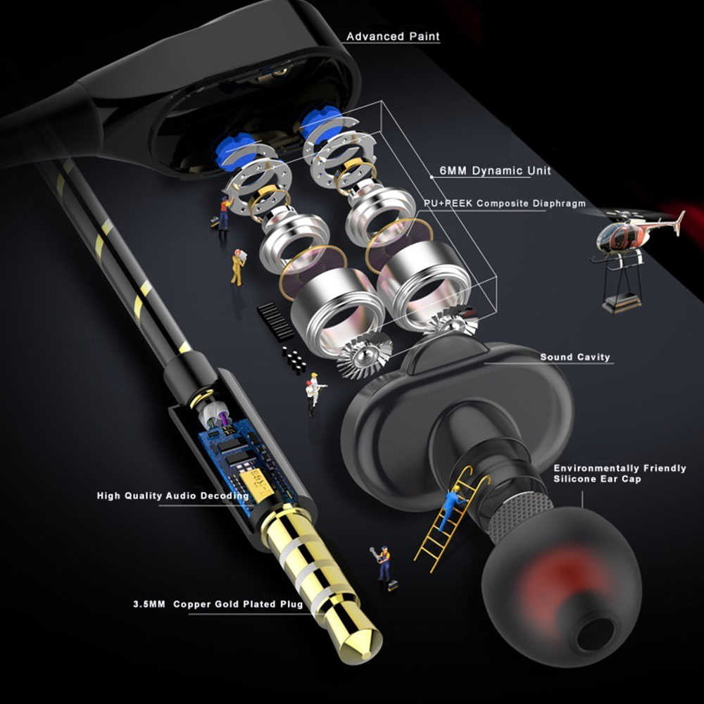 Cewaal Double Unit Drive Di Telinga Earphone Bass Earphone untuk Ponsel Dj MP3 Sport Earphone Headset Earbud Auriculares