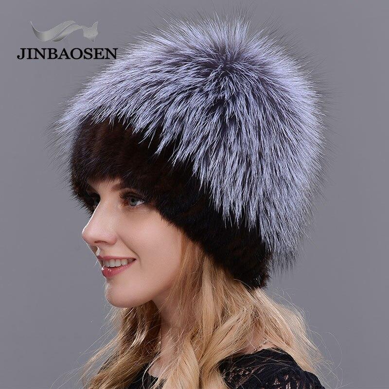 2018New mujeres invierno ruso piel moda piel real sombrero Piel de visón natural zorro tejido lana esquí sombrero caliente oreja protección de sombrero