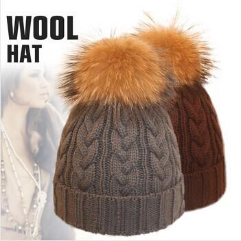 Cabo preto chapéu de lã inverno malha guaxinim verdadeira raposa naturais pele pom pom cap hairball mulheres acessórios de moda de esqui de neve gorro