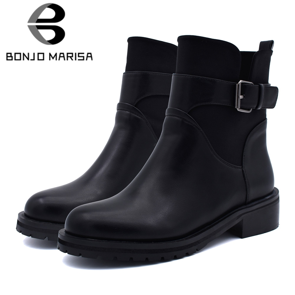 BONJOMARISA New  Boots Belt Buckle Wide Med Heels Round Toe Shoes Woman Casual womens Winter Ankle Boots Big Size 34-42BONJOMARISA New  Boots Belt Buckle Wide Med Heels Round Toe Shoes Woman Casual womens Winter Ankle Boots Big Size 34-42