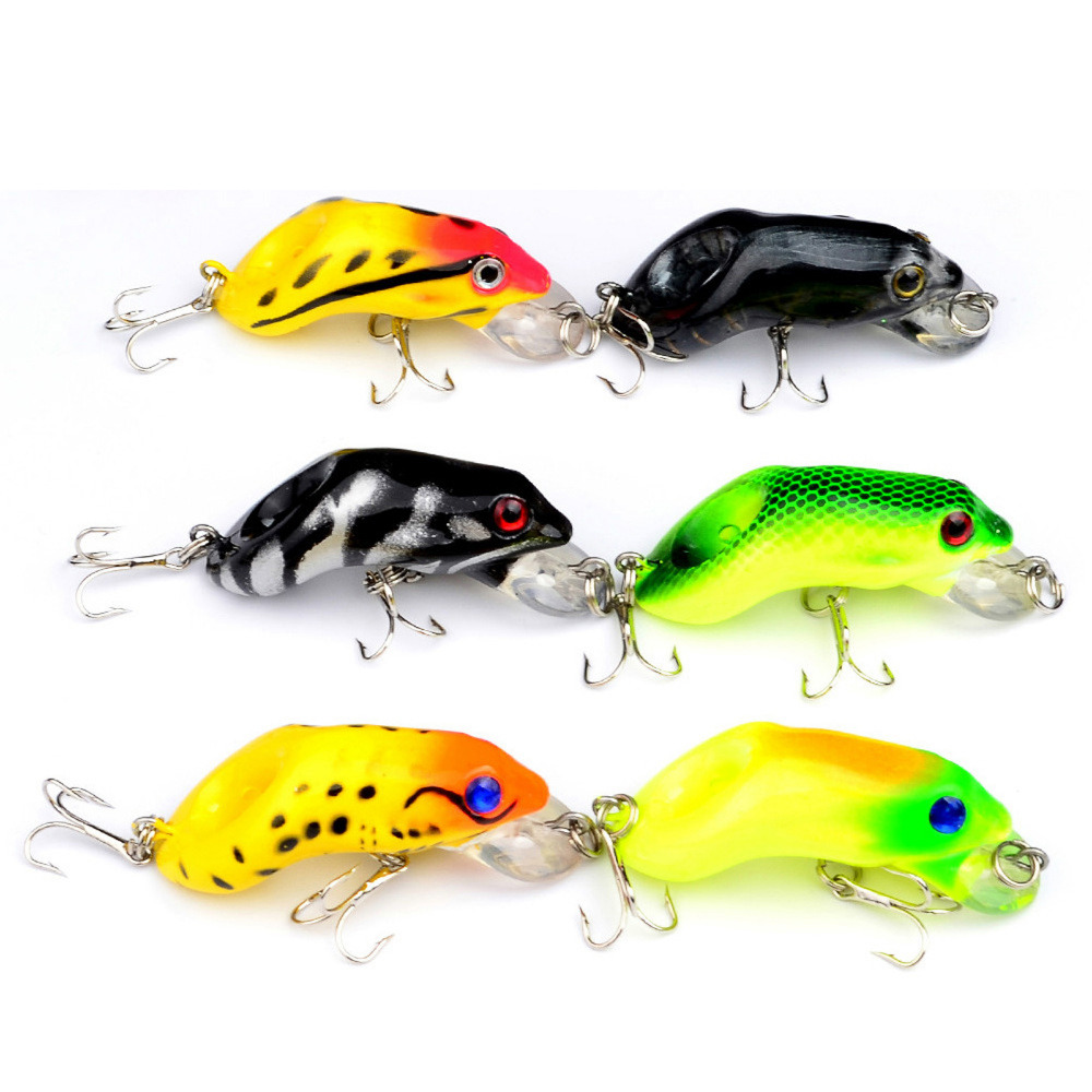 6PCS Sea Fishing Fish Bass Topwater Frog Minnow lure hook ...
