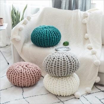 Красочная круглая подушка ручной вязки украсит Ваш дом может быть как пуф пол