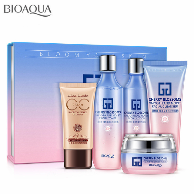 BIOAQUA 5pcs/set Cherry Blossoms Cosmetic Skin Care Products Suit Hydrating Cleansing Lotion ...