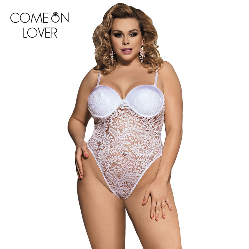 RE80285 Comeonlover Plus size push up cup lace teddy <font><b>lingerie</b></font> <font><b>women</b></font> <font><b>sexy</b></font> floral embroidery <font><b>body</b></font> <font><b>suit</b></font> hot sheer <font><b>sexy</b></font> <font><b>lingerie</b></font> image