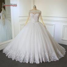 2018 الكرة بثوب الزفاف فستان أماندا novias الرباط طويلة الأكمام فساتين الزفاف