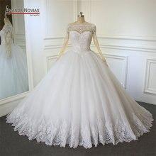 2018 suknia balowa suknia ślubna Amanda Novias koronki długie rękawy suknie ślubne dla nowożeńców