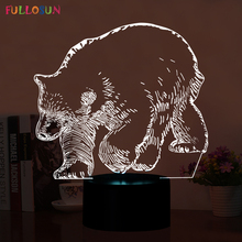 Amazing Polar Bear 3D 5V USB Table Lamp LED 3D Night Lights 3D 7 Colors Changing Light lamp as Home Decorations acrylic 7 colors changing animal horse led nightlights 3d light led desk table lamp usb 5v lamps for home decoration