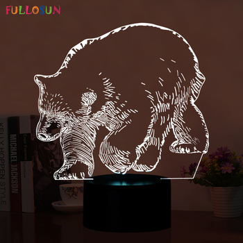 Amazing Polar Bear 3D 5V USB Table Lamp LED Night Lights 7 Colors Changing Light lamp as Home Decorations