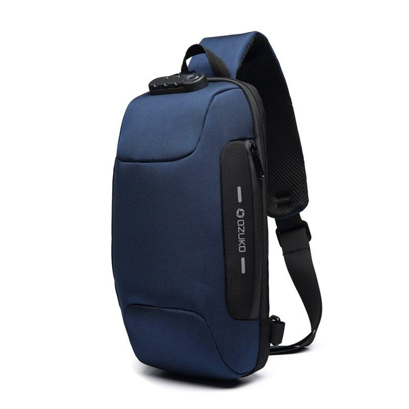 OZUKO Новая универсальная сумка через плечо для мужчин Противоугонная сумка через плечо мужская непромокаемая короткая сумка на грудь - Цвет: Синий