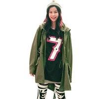 새로운 여성 위로 해골 군대 녹색 재킷 느슨한 후드 코트 착실히 보내