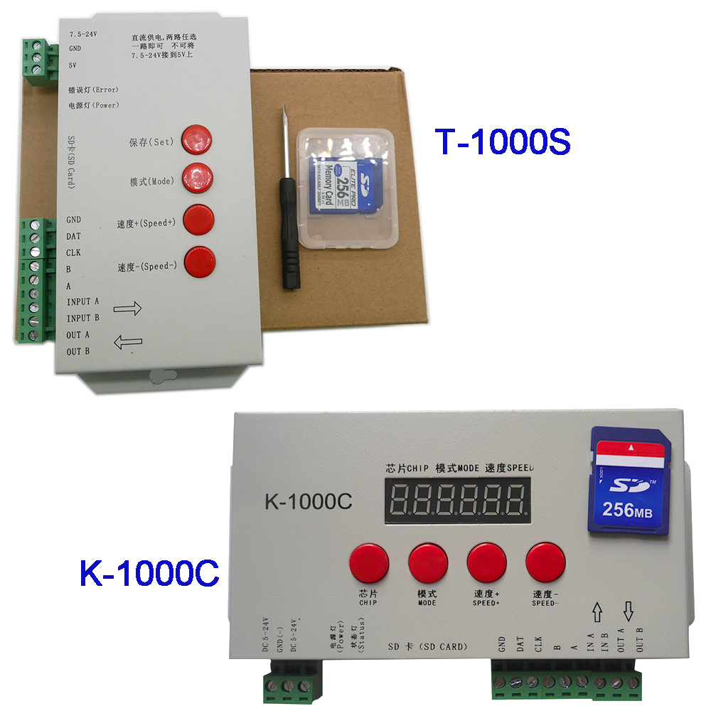 K-1000C (T-1000S Atualizado) controlador K1000C WS2812B, WS2811, APA102, t1000S WS2813 LED 2048 Pixels Controlador Programa DC5-24V