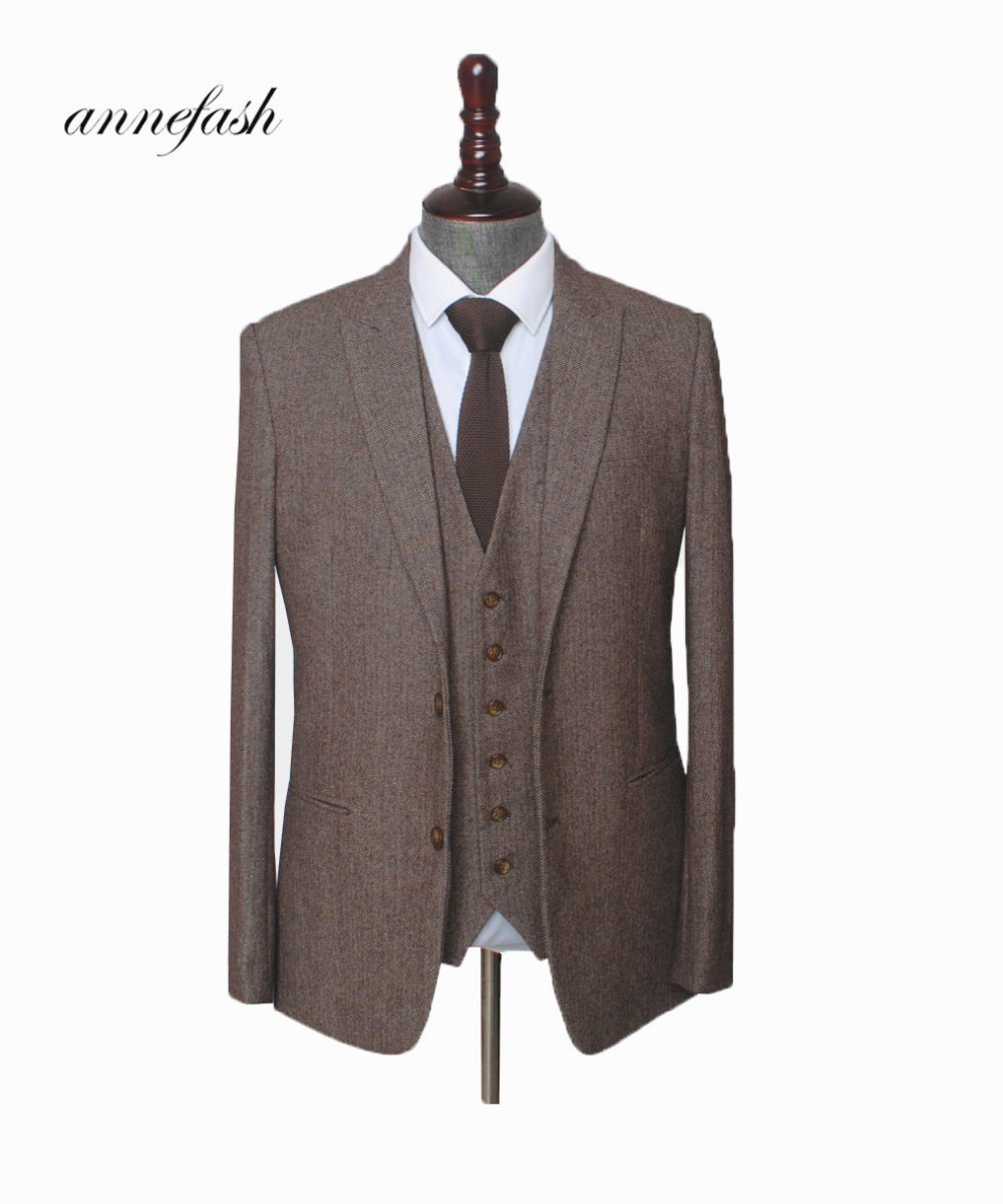 Mens Suit Herringbone Woolen Brown Custom-Made British-Style Tailored Plus-Size Tweed