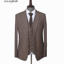 На заказ, шерстяной коричневый твидовый мужской свадебный костюм в елочку, британский стиль, мужской костюм, сшитый по индивидуальному заказу размера плюс, блейзер