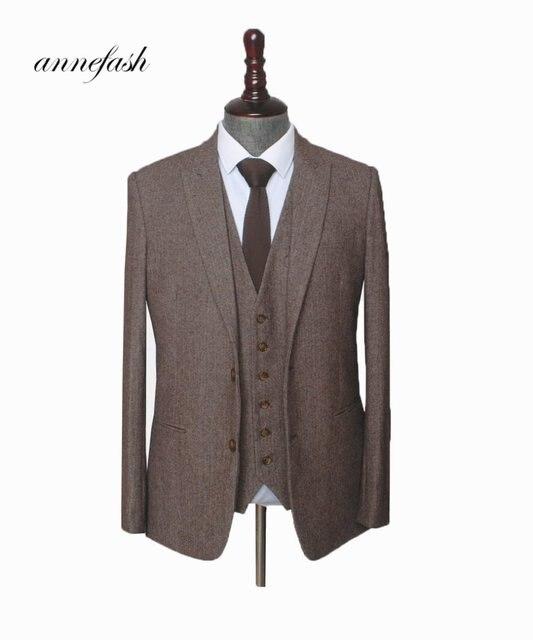 カスタムメイドウール茶 Herringbone Tweed 男性の結婚式のスーツ英国スタイルメンズスーツ仕立てプラスサイズブレザースーツ