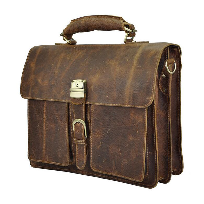 Hot Selling !!! New Foreign Trade Import Men Retro Crazy Horse Leather Business Briefcase 16 Inches Big Capacity Laptop Bags hot selling rare crazy horse leather men s briefcase laptop bag travel bag big size 16 5 7028r