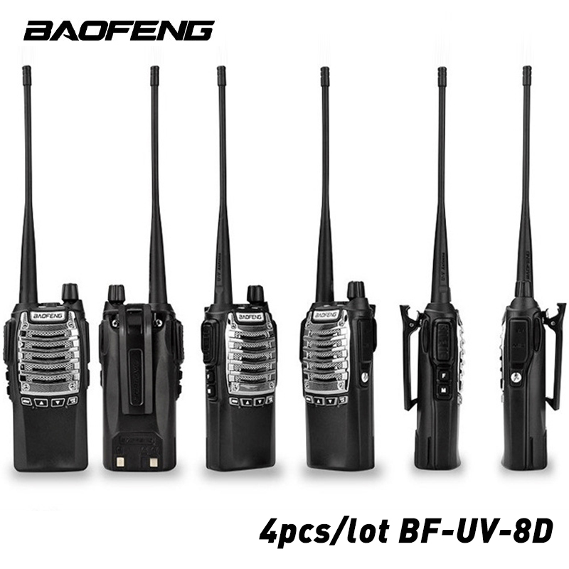 4pcs/lot BaoFeng UV-8D Walkie Talkie 8W 128 Channels KM UHF 400-480MHz Portable Radio Two-Way Single Band Interphone Hand Free