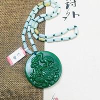 Zheru Jewelry Pure Natural Jasper Carved Dragon Turtle Crane Pendant Tricolor Jadeite Bead Necklace Send Class A Certificate