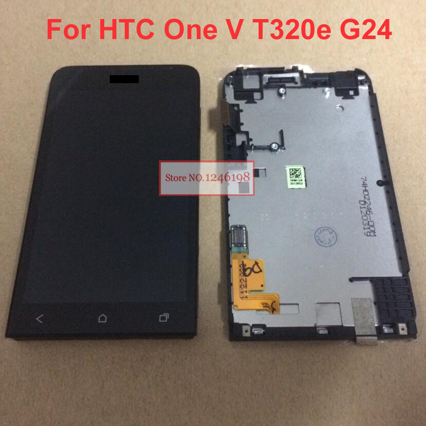 TOP Quality NEW Full LCD Display Touch Screen Digitize Assembly With Frame For HTC One V T320e G24 Replacement parts with LOGO