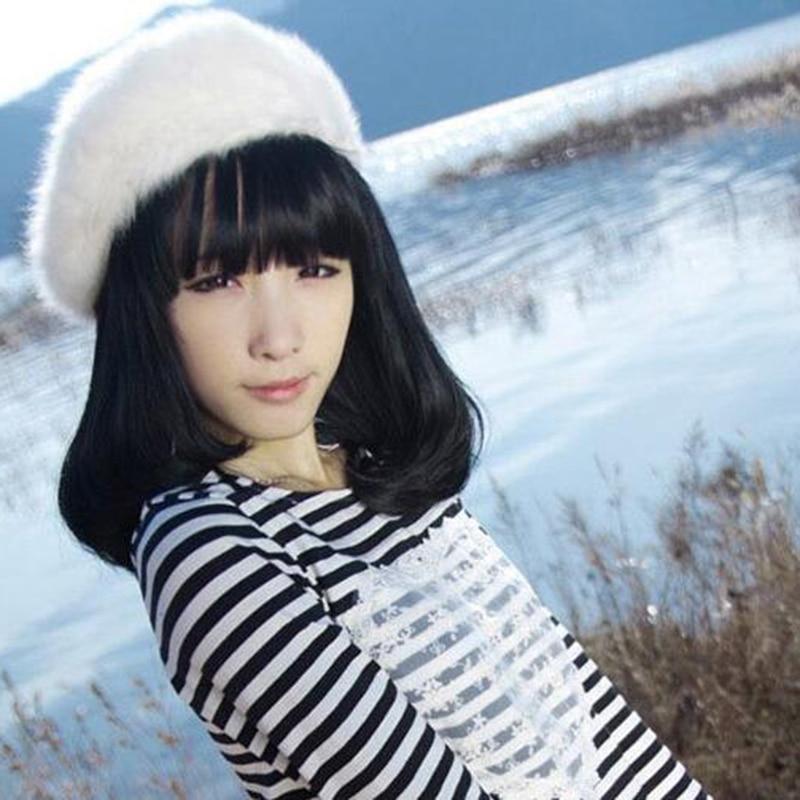 8e669d2087c41 Moda elegante sólido conejo Pieles de animales Beanie sombrero de la boina  de lana caliente invierno artista Cap mujer moda mujeres accesorios regalos