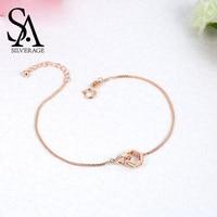 SA SILVERAGE 18K Rose Gold Chain Link Bracelets Bangles for Women Hexagon Shape Charm Bracelet Fine Jewelry 2019 Bracelet Girls