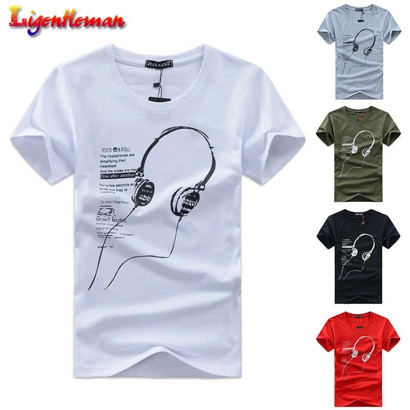 Musim Panas Pria T-shirt 2019 Baru Ukuran 5XL Tee Kemeja Pria Pakaian Tee Tops Lengan Pendek Headset O-Leher Kartun printing