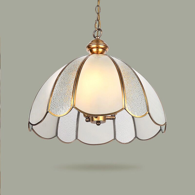 AC90 260V Messing Kupfer Pendelleuchte Glas Lampenschirm Innenbeleuchtung E27 Loft Bar Esszimmer
