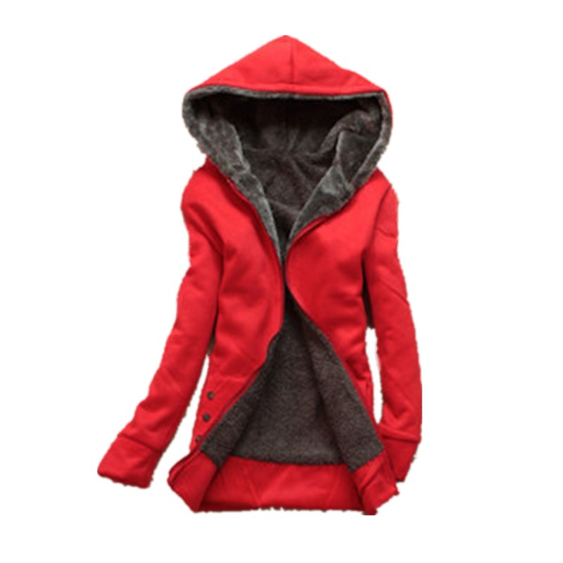 Autumn Winter Women Slim Hooded Warm Thick Coats Women   Basic     Jacket   Coat Women Plush Fleece Outerwear