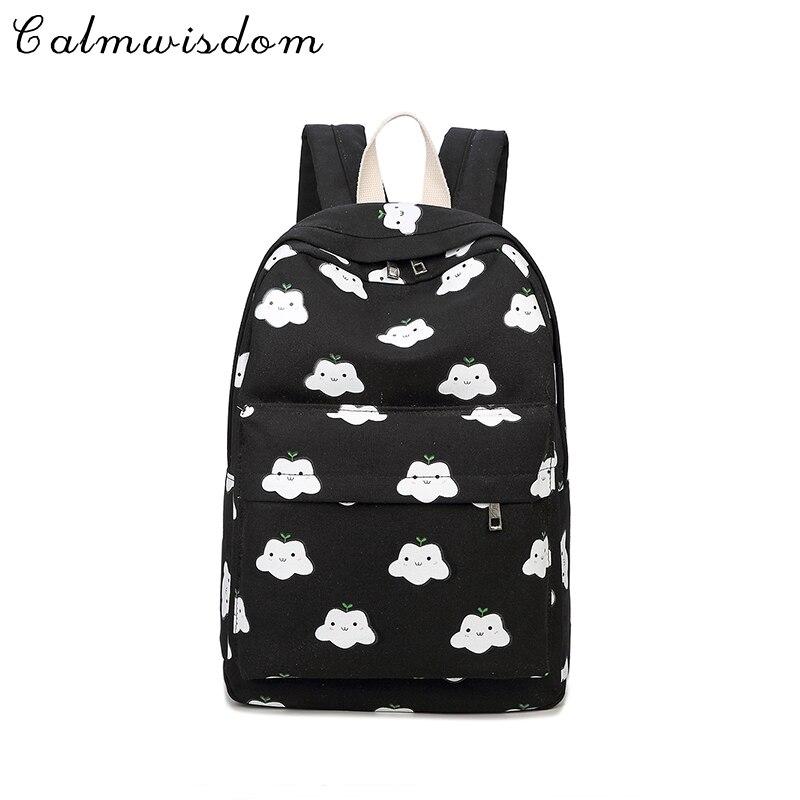 Calmwisdom brand fashion ladies canvas backpack ladies shoulder bag girls backpack travel fashion cloud printing Bolsas Mochilas