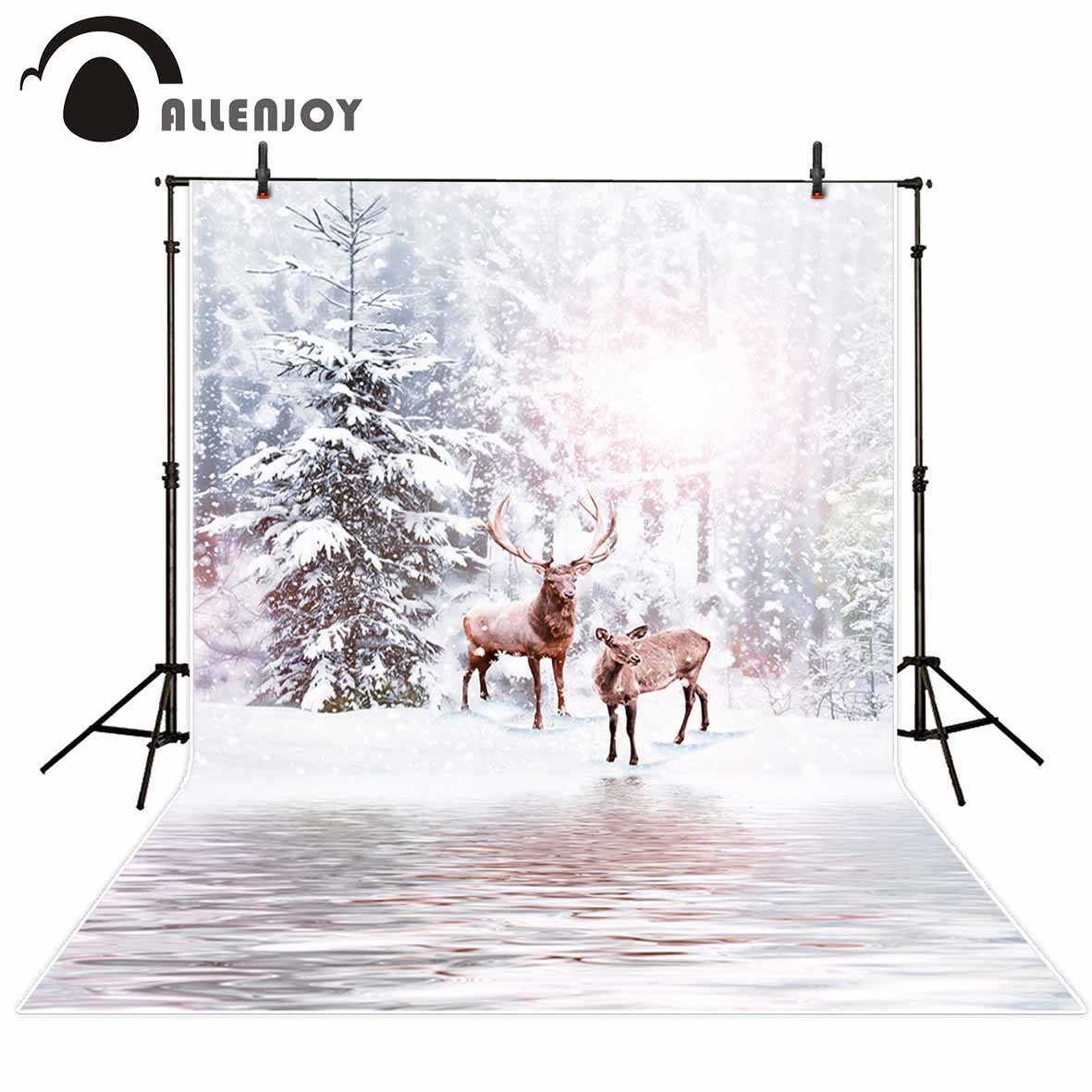 Allenjoy photography backdrop winter elk snow river Christmas bokeh background photobooth for a photo shoot original design