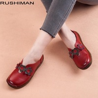 RUSHIMAN Women Flats Women Genuine Leather Breathable Casual Women Shoes Soft Solid Ladies Vintage Flower Loafers