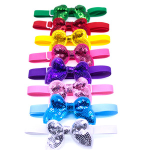 Image 1 - 50pcs Pet Supplies Dog Accessories Bright Sequin Pet Dog Cat Bow Ties Neckties Puppy Bow tie Dog Party Decoration Products