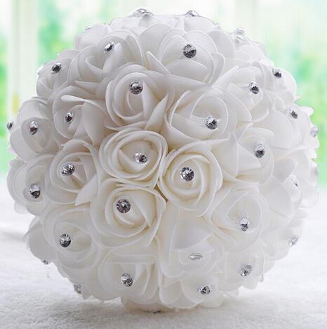 Beautiful White Bridal Bridesmaid Flower wedding bouquet de noiva artificial flower rose bouquet Crystal bridal bouquets
