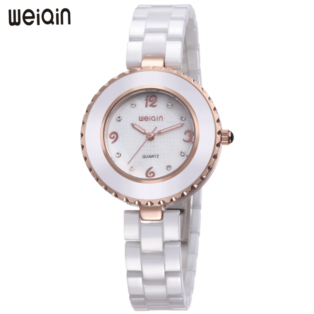 WEIQIN Luxury Brand Fashion Simple Ceramic Women Watches Quartz Waterproof Wrist Watch Rose Gold Ladies Watch Clock montre femme 2018 brand women watches women silicone square reloj mujer luxury dress watch ladies quartz rose gold wrist watch montre femme