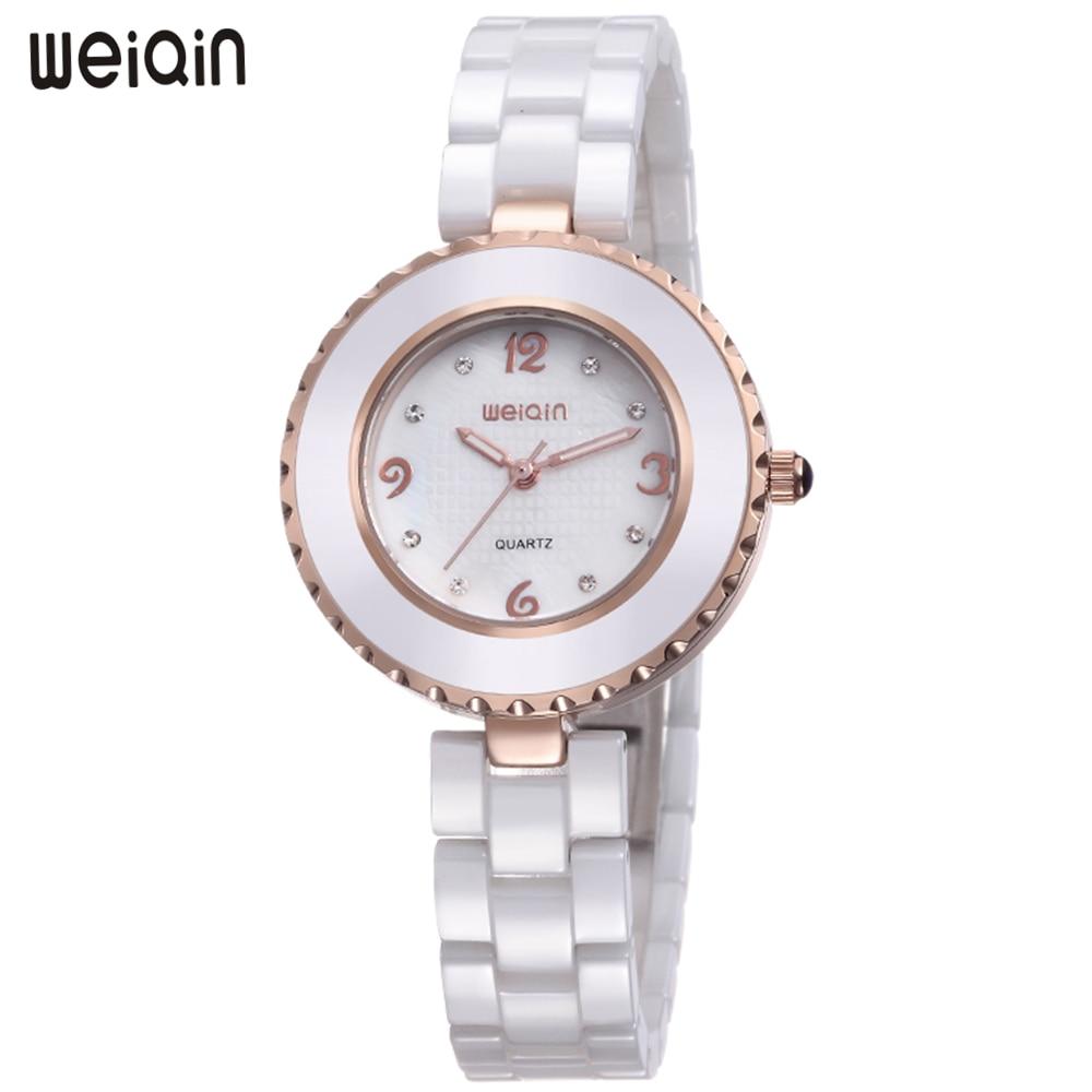 WEIQIN Luxury Brand Fashion Simple Ceramic Women Watches Quartz Waterproof Wrist Watch Rose Gold Ladies Watch Clock montre femme цена