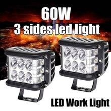 Lampe de travail à 3 LED latérales 60W 12V 24V, 2 pièces, lampe de travail pour la conduite de bateau, voiture, tracteur, camion, 4x4 SUV ATV, 4 pouces
