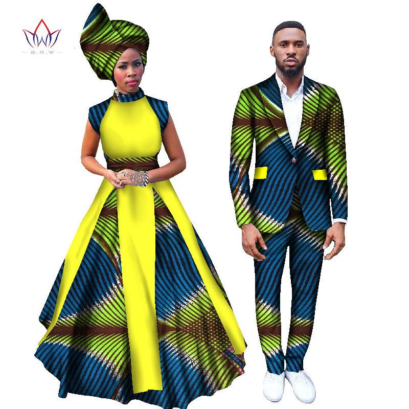 African Print Fashion: 2017 Women Dresses And Men's Blazer Set Ankara Women