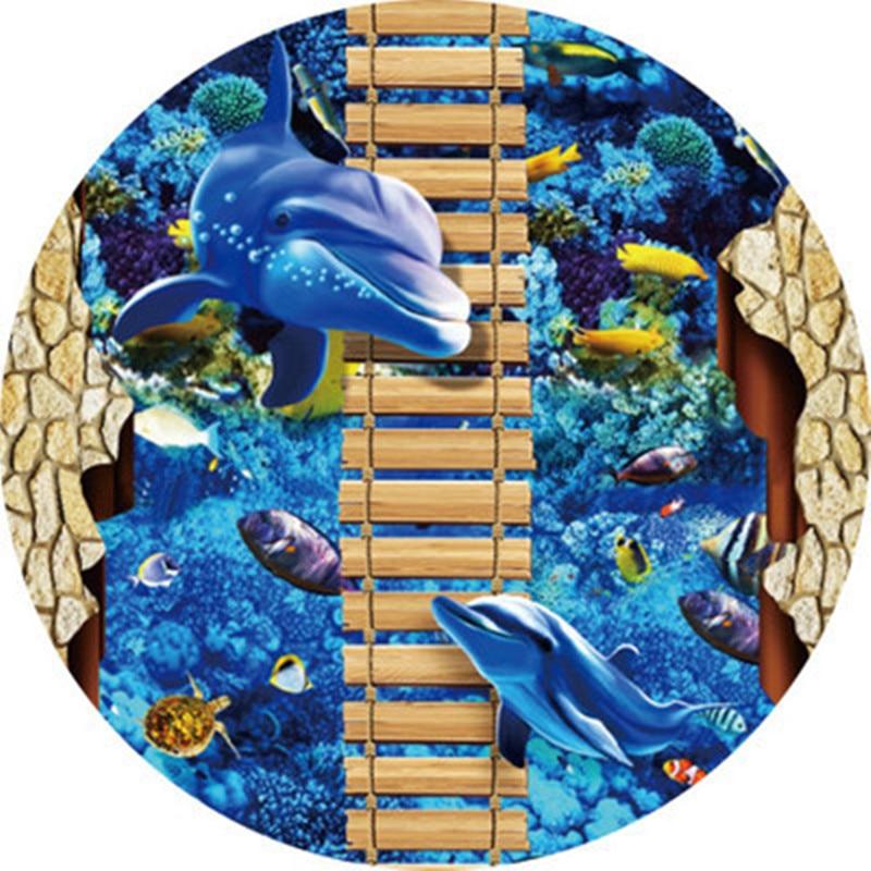 Blue ocean Mediterranean style Rug Creative 3D Printed Round Carpets for living room Bedroom area rugs Bathroom Absorb Water Mat